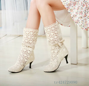 New-Women-Girl-Med-Heel-Bowknot-Boots-Hollow-Out-Mid-Calf-Shoes-AU-All-Sz-YB925