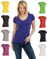 Ladies Womens Womans Fit Plain Cotton Vee V-Neck Tee T-Shirt T Shirt Tshirt