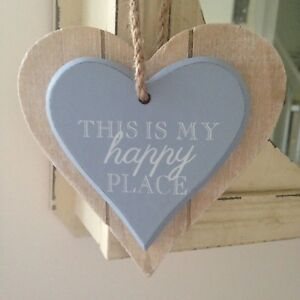 Peachy Details About Shabby Chic Wood Double Heart Hanging Decoration With 6 Different Texts Home Interior And Landscaping Ponolsignezvosmurscom