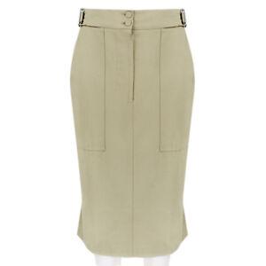 Alexander-McQueen-Luxurious-Khaki-Safari-Skirt-IT40-UK8