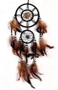 Traumfaenger-Indianer-Dreamcatcher-Natur-Braun-Federn-70-cm