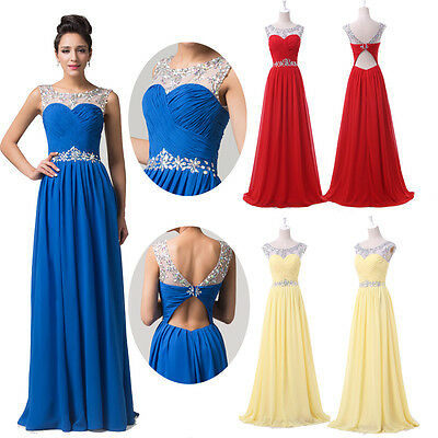 GK Long BEADED Graduation Dress Bridesmaids Evening Party Pageant Prom Ball Gown