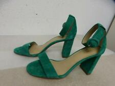 2afa05a4fb *ANN TAYLOR GREEN LEANNETTE SUEDE LEATHER BLOCK HEELED SANDALS sz 8M (as is)