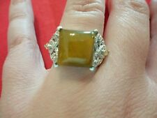 Tigers Eye, Brazilian Citrine Ring in Platinum Overlay-Size 7-9.20 Carats