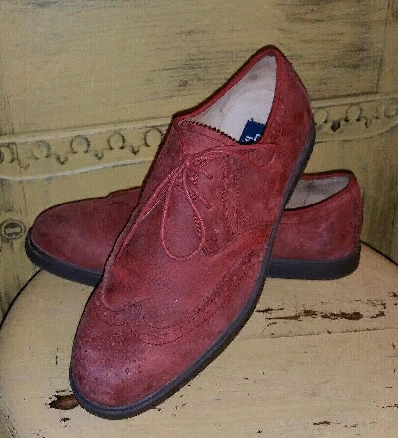 nuovo di marca RALPH LAUREN POLO CRANBERRY NUBUCK LEATHER WINGTIPS OXFORDS OXFORDS OXFORDS CASUAL scarpe 8 M RED  spedizione veloce e miglior servizio