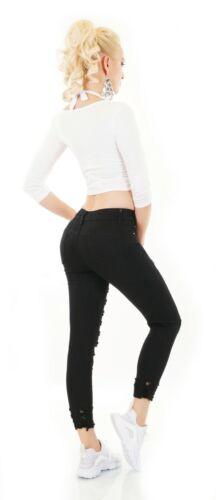 Damen Jeans 7//8 Hose High Waist Röhre Skinny Destroyed Risse Fetzen Cut Out