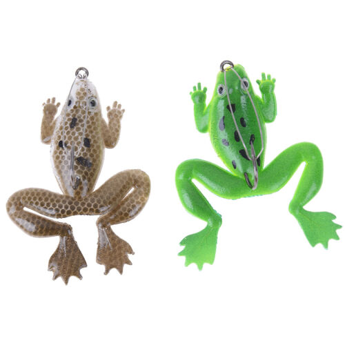Lot 1Pcs Plastic Frog Fishing Lures ass Spinner Bait Weedless Hook Tackle 6LACD