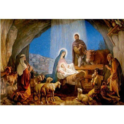 CHRISTMAS Diamond Painting Jesus Cross Stitch DIY 5D Full Round NATIVITY Gift