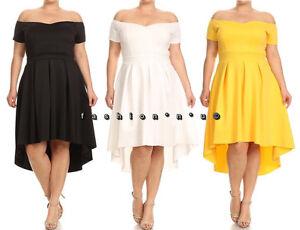Details about Plus Size Off Shoulder Hi Low Fit Flare Dress