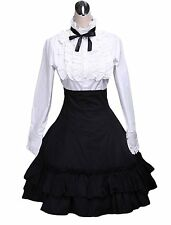 Lolita Cotton White Blouse Black Ruffled Skirt Outfits XS USA Seller