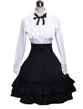 Lolita Cotton White Blouse Black Ruffled Skirt Outfits XS USA Seller