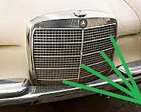MERCEDES W108 w109 GRILLE MOULDINGS VERTICAL & HORIZONTAL NEW