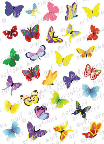 30 COLORFUL BUTTERFLIES WATER SLIDE NAIL ART DECALS- GREAT FOR KIDS OR ADULTS