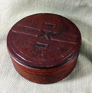 Antico-Pelle-Scatola-Primitivo-Folk-Arte-Mano-Crafted-Tooled-Decorazione