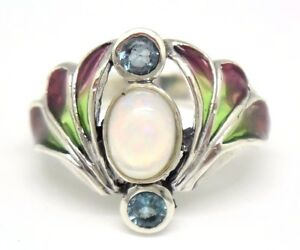 JUGENDSTIL-Ring-Opal-amp-Blau-Topas-925-Silber-ART-NOUVEAU