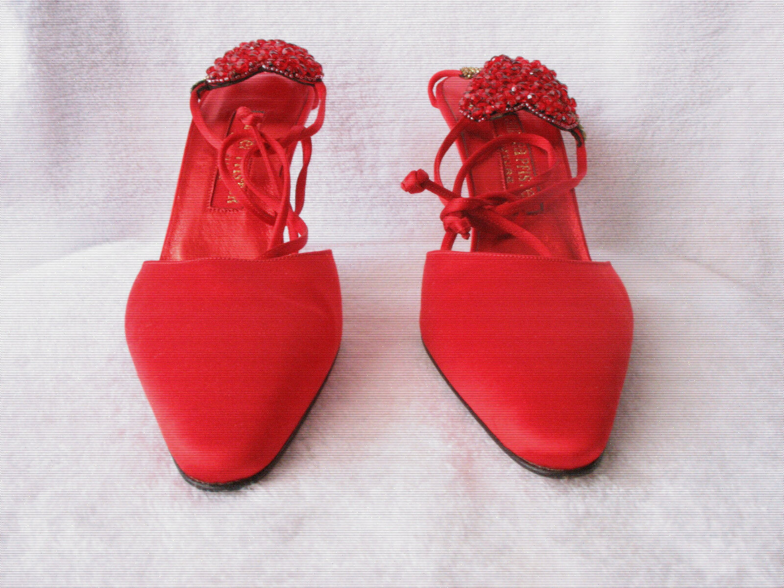 ANDREA PFISTER COUTURE BRIGHT RUBY ROSSO SATIN HEELS