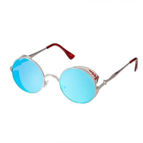 Ice Blue Steampunk Glasses Cyber Round Retro Goggles Vintage Sunglasses Silver