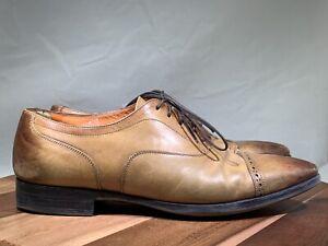Santoni-brown-10-5-D-Medallion-Leather-Cap-Toe-Oxfords-2571
