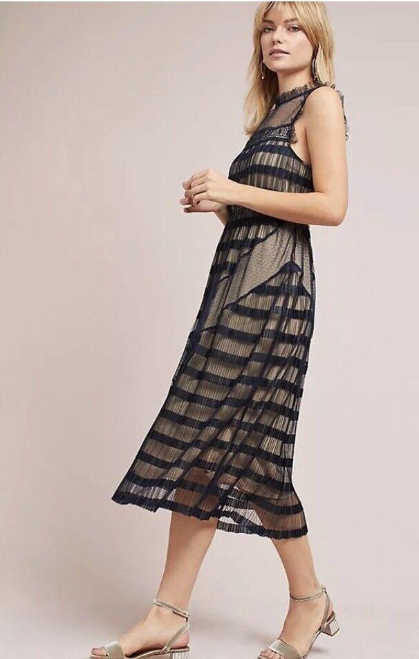 NWT NWT NWT Anthropologie Petite Midi Ruffle Dress By Foxiedox - XS Petite 2e943a