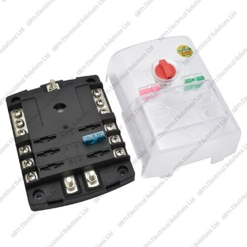 6 Way Blade Fuse Box /& Cover Positive /& Negative Bus Bars