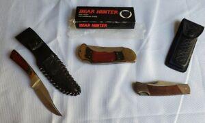 Vtg BEAR HUNTER Solingen Knife W/ 2 Extra Knifes LOT 3 KNIVES Frost Cutlery