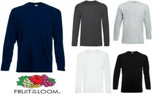 Nuova-Fruit-Of-The-Loom-Manica-Lunga-T-Shirt-100-Cotone-Tinta-Unita-T-shirt-Uomo