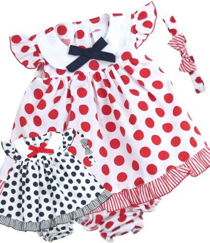 Babyprem bébé fille bleu rouge Robe Ensemble Bandeau /& pantalon 9-12 12-18 18-24 Mois
