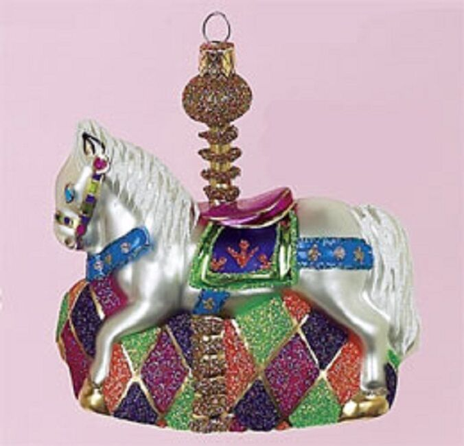 Carousel Horse Christmas Tree Glass Ornament