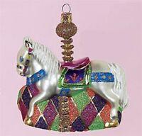 Carousel Horse Christmas Tree Glass Ornament