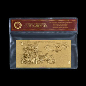 WR-Limited-Edition-24KT-Gold-Australia-Bank-Notes-Old-1-Dollar-Rare-Banknote-COA