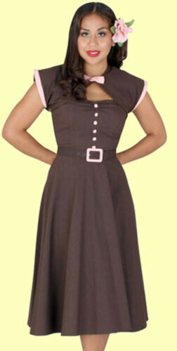 New Stop Staring Rockabilly Pinup Brown /& Pink Swing Dress With Shrug Jacket
