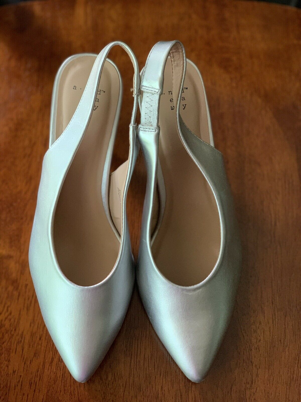 A New Day Women's Nettie Silver Faux Leather Sling Back High Vamp Heeled Pumps