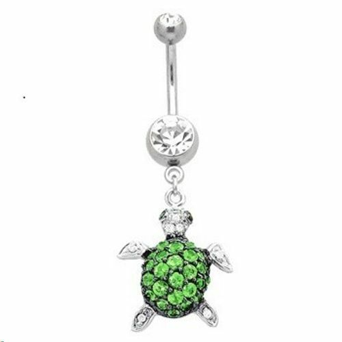 Turtle Belly Ring Green Clear Naval Dangle Body Jewelry 14g Tortoise CZ Gem Sexy