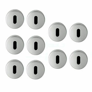 SATIN Stainless Steel Escutcheons 50mm Door Keyhole Protector Lock Covers Pair