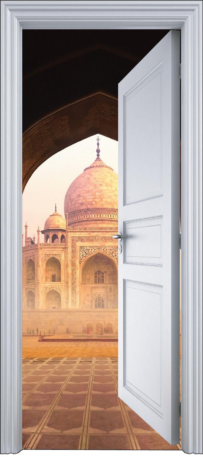 Adhesivo Puerta Trompa Trampantojo Decoración Templo Taj Mahal 90x200 cm Ref
