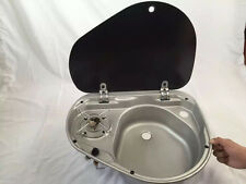 Boat Caravan Camper Burner Gas Stove Hob and Sink Combo With Glass Lid GR-600R