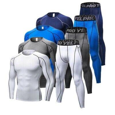 Details about  /Men/'s Fitness Compression Pants Shirt Long Sleeve Jacket Set 2 PCS Workout Set