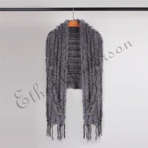 Crazy Sale Farm Rabbit Fur Vest Gilet Scarf Shawl Cape Wrap Poncho Vtg waistcoat