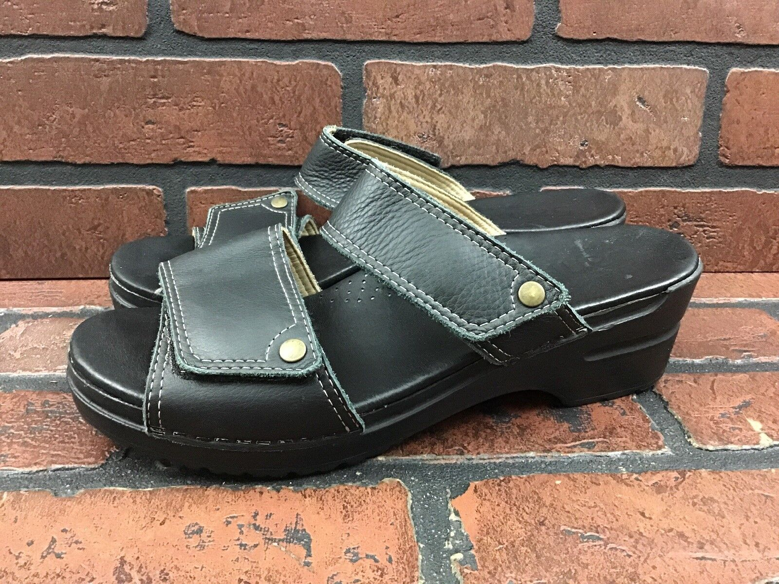 SANITA Black Leather 2 Strap Adjustable Slip-On Clogs Sandals EU 40 US 9.5