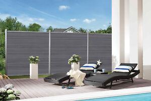 komplettset wpc sichtschutz zaun platinum xl grau zaunl ngen von 9 m 25 m ebay. Black Bedroom Furniture Sets. Home Design Ideas