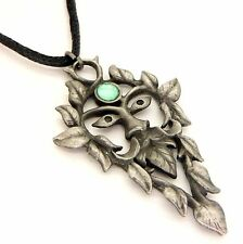 Greenwood Green Man Amulet Pendant Necklace Pewter Green Cabochon GW13