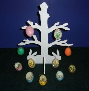 Easter-Christmas-Wood-Tree-Table-Decoration-Vintage-Hand-Decorated-Eggs