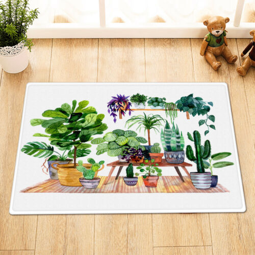 """Watercolor House Plants Cactus Agave Urban Jungle Fabric Shower Curtain Set 72/"""""""