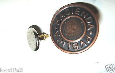 17mm jean denim clous bronze métal laiton antique cuivre pantalon bouton marteau sur