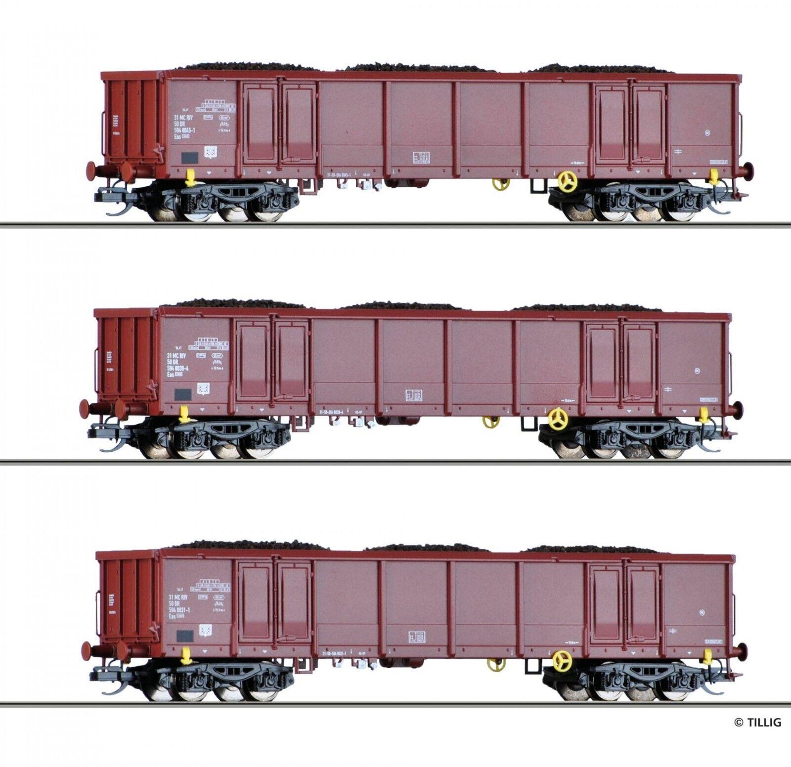 TT 3 aperta carri merci Set carico con lignite DR Ep. IV Tillig 01770 NUOVO