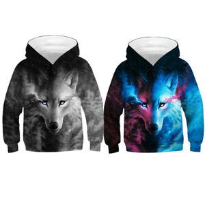 Kids Boys Girls 3D Wolf Animals Hoodie Pullover Jumper Tops Hooded Sweatshirt