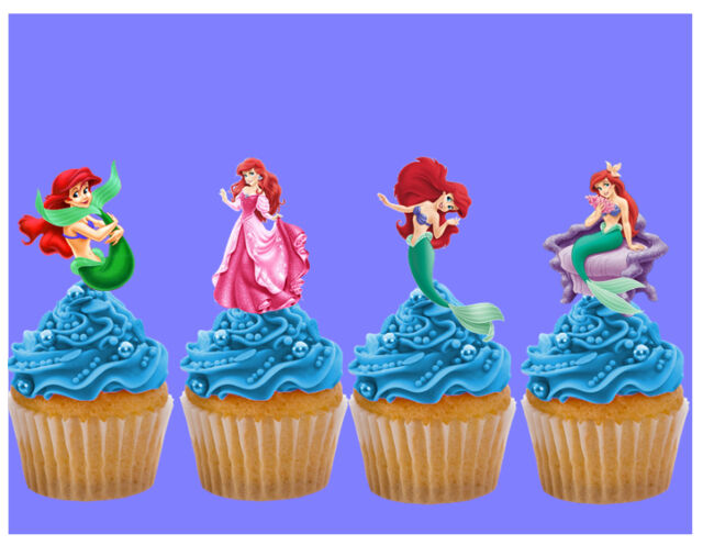 The Little Mermaid Ariel Stand Up Cake Toppers Decorations Premium