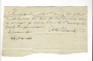 Rare 1803 Northwest Territory/Ohio Land Receipt signed William Schenck, pioneer