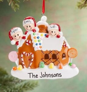Personalized GINGERBREAD HOUSE FAMILY of 2-3-4-5-6 Christmas Tree Ornament 2020