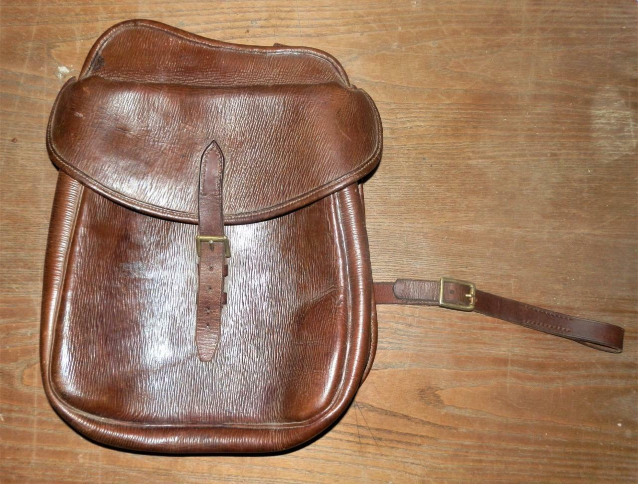 Antique/Vintage English Braun Braun English Leder Large Saddle Bag